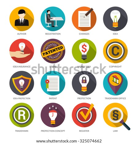 Patent idea protection flat icons set with author trademark copyright symbols isolated  illustration