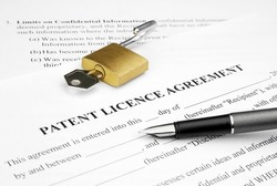 patent licence agreement document with open lock