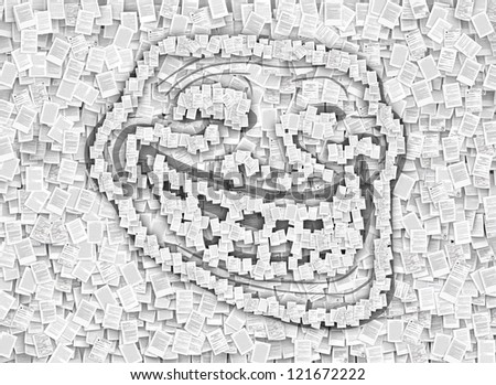 Patent troll symbol , frollface hiding behind laws pages