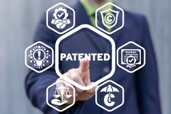 Patented Innovation and Technology. Concept of patent. Law protection intellectual property and copyright.