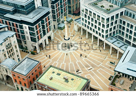 Paternoster Square, London. It is an urban development next to St Paul's Cathedral in the City of London, England