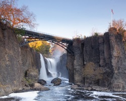 Paterson, NJ / United States - Nov. 9, 2019: Landscape view of The Great Falls of the Passaic River