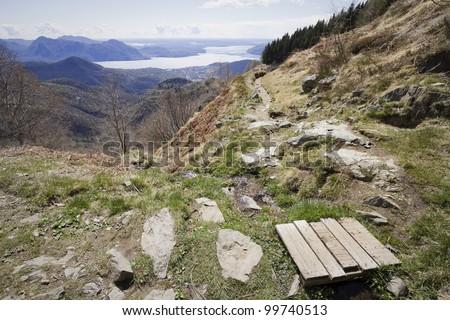 path above lake maggiore on the alps