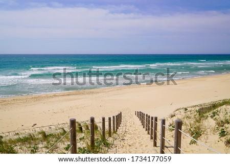 path access dune sand beach of la jenny in atlantic ocean France  Stock photo ©