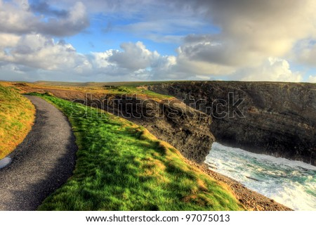 Path along the cliffs of Kilkee in Ireland.