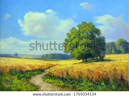 path among a wheat field on a beautiful sunny day,oil painting, fine art, rural landscape, summer, tree, sky, nature