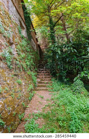 path from the old fortress wall in Italy