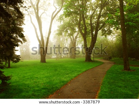 Path in a green foggy park in the spring - Shutterstock ID 3387879