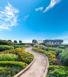 Path  in fresh garden with blue sky.