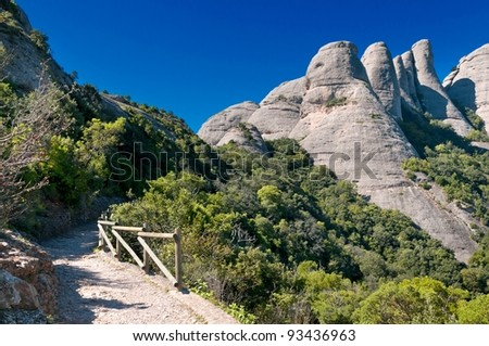 Path in the Montserrat mountains, Catalonia, Spain