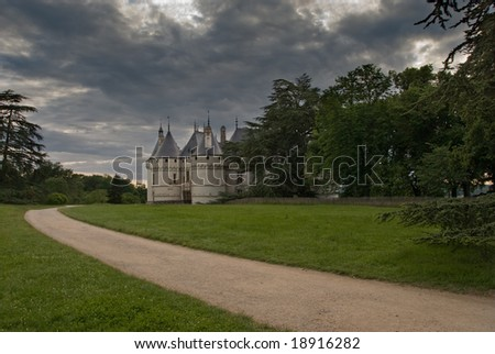Path leading to the castle Chaumont-sur-Loire. Loire Valley, France