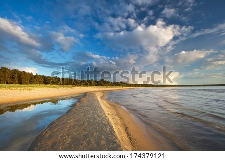 Path on the sea in evening light