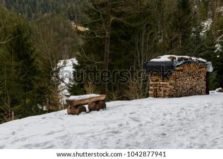 path to Burgbach waterfall frozen in wintertime in Germany in Bad Rippoldsau #1042877941