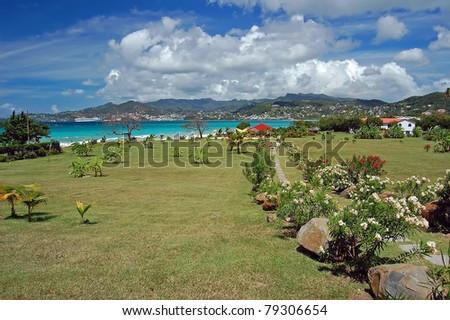 Path to Grand Anse beach on Grenada island - stock photo