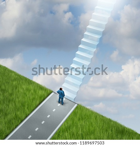 Path to heaven as a stairway to spirituality and faith or peaceful eternity symbol with 3D illustration elements.