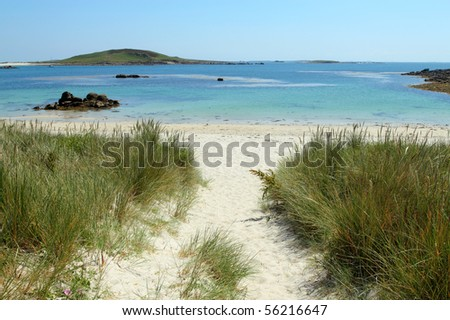 Path to Rushy Bay beach in Bryher, Isles of Scilly Cornwall UK. - stock photo