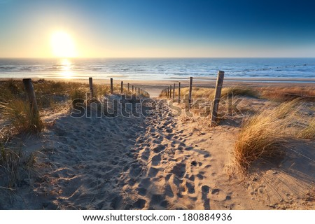 path to sand beach in north sea ...