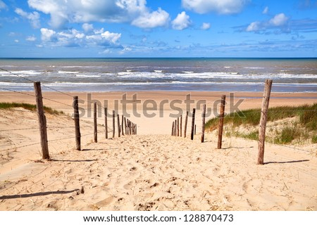 path to sandy beach by North sea in Zandvoort aan Zee