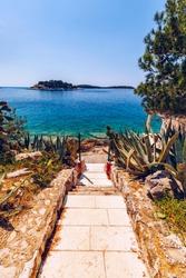 Path To The Beach. Path to the rocky beaches of the Adriatic sea. Path to the beach at Adriatic sea. Hvar, Croatia.