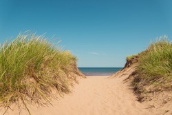 Path to the beach (St. Peters Bay on the northern shore, Point East Coastal Drive, Prince Edward Island, Canada)