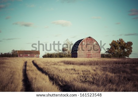 Path to the old red barn on a farm