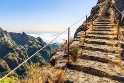 Path with steps and handrails in the mountains, Portugal, Madeira
