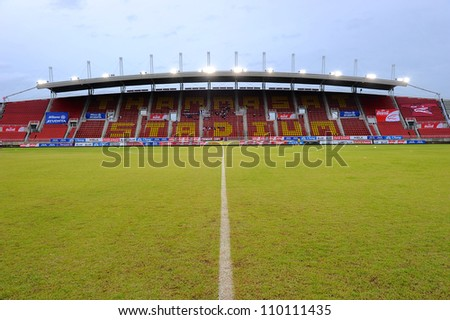 PATHUM THANI,THAILAND-AUG8:View Thammasat Stadium before geam during Thai Premier League between Insee Police UTD.and SCG Muangthong UTD.at Thammasat Stadium on Aug 8,2012 in Thailand