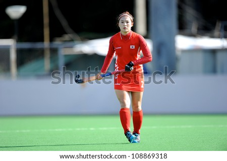 PATHUM THANI,THAILAND-JULY 3:Yo So Hui (no.2 Red) of Korea in action during the Womens Junior AsiaCup Korea and Kazakhstan at QueenSirikit Stadium on July3,2012 in PathumThani,Thailand.