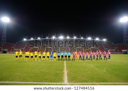 PATHUMTHANI,THAILAND FEB 6:Thammasat Stadium during a friendly match between Bangkok Glass FC(Y) and Cerezo Ozaka FC(P) at Thammasat Stadium on February 7,2013 in Thailand