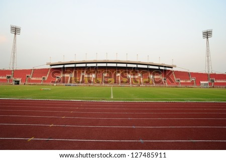 PATHUMTHANI,THAILAND FEB 7 :View of Thammasat Stadium before geam during a friendly match between Bangkok Glass FC and Cerezo Ozaka FC.at Thammasat Stadium on February 7,2013 in Thailand
