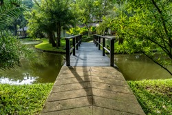 Pathway and wooden Small foot bridge in the park