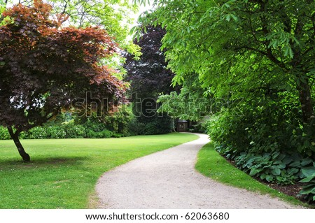 Pathway in a Peaceful Green Garden