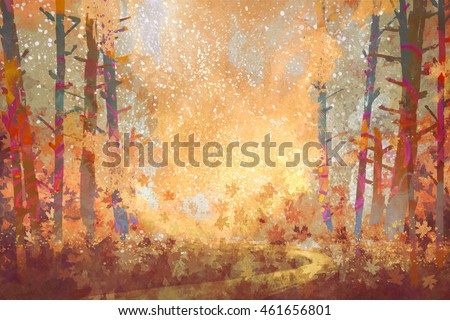 pathway in autumn forest,landscape painting,illustration