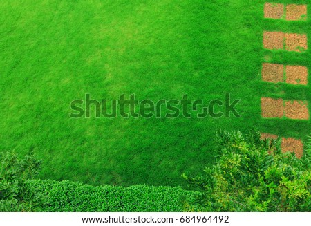 Pathway In Garden Green Lawns With Bricks Pathways Landscape Design Top View
