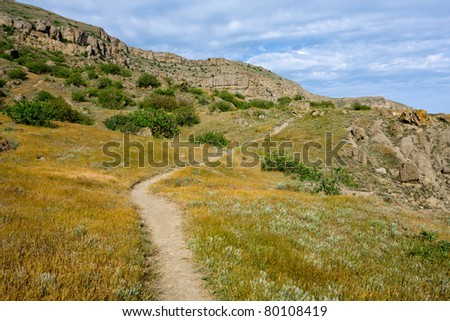 pathway in mountains among dry grass