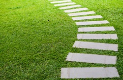 Pathway in the garden outdoor, forward stepping stones or pebbled in the grass lawn. Using for the roadway to success, achievement, leadership, milestone, vision, and mission concept.