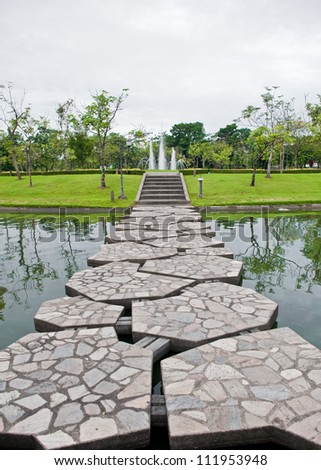 Pathway in tropical garden of Thailand.