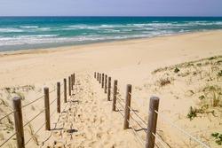 pathway sand beach access in La jenny Beach near Lege cap-ferret in France