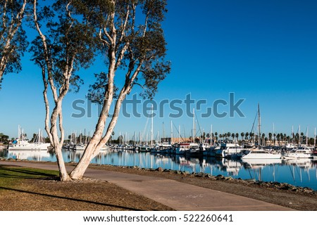 Shutterstock Pathway through the Chula Vista Bayfront park with boats moored in the marina.