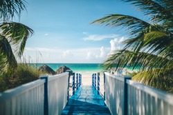 pathway to a tropical beach resort