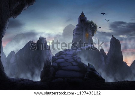 pathway to castle on foggy mountain in fantasy #1197433132