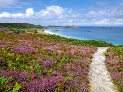 Pathway to Great Bay on the Island of St Martin's. Part of the Isles Of Scilly, the most south westerly part of England. August 2019.