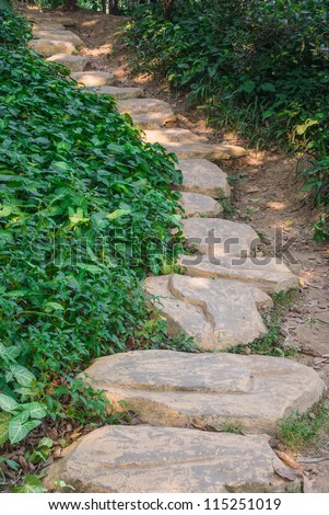 pathway with stones, going up