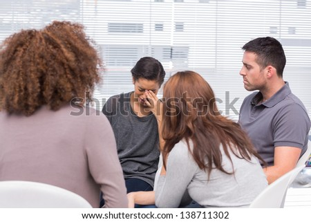 Patient crying during group therapy session
