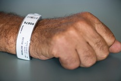 Patient earing an identification wristband in the intensive care unit