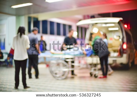 patient emergency with team transfer from ambulance ,blur #536327245