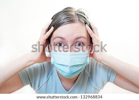 Patient in mask in crisis condition. On white background.
