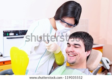Patient on reception at the dentist