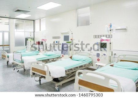 Patient's bed and diagnostic equipment with modern equipment and comfortable equipped in hospital.
