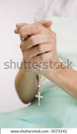 Patient silent prayer on hospital bed stock photo 5073142